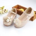Jentas Round Toe Microfiber Lær flat Heel Flower Girl Shoes med Profilering Imitert Perle Velcro