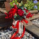 Klassisk stil Hånd Bundet Satin/Simulerings Bær/Rhinestone/Kunstige Blomster Brude Buketter/Brudepike Buketter (som selges i et enkelt stykke) - Brude Buketter/Brudepike Buketter