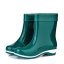 Kvinner PVC Lav Hæl Lukket Tå Støvler Ankelstøvler Gummistøvler med Spenne sko