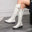 Kvinner Lær Lav Hæl Knehøye Støvler Round Toe med Spenne sko