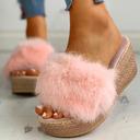 Kvinner Stoff Flat Hæl Sandaler Tøfler med Pels sko