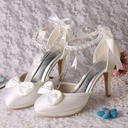 Women's Silk Like Satin Stiletto Heel Platform Pumps With Pearl