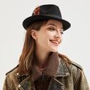 Menn Glamorøse/Klassisk stil/Iøynefallende Ull med Fjær Fedora Hat/Panama Hat