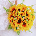 Unique Sunflower Hand-tied Satin/Lace/Linen Rope/Artificial Flower Bridal Bouquets/Bridesmaid Bouquets (Sold in a single piece) - Bridal Bouquets/Bridesmaid Bouquets