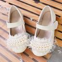 Jentas Round Toe Microfiber Lær flat Heel Flower Girl Shoes med Profilering Syning Blonde Velcro