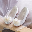 Girl's Closed Toe Lace Flat Heel Flats Flower Girl Shoes With Beading Bowknot
