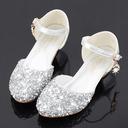 Jentas Round Toe Sparkling Glitter Flower Girl Shoes med Crystal