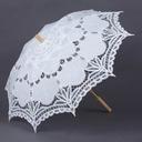 Klassisk stil/Enkel Brud og Brudgom Tre/Bomull Bryllup Paraplye med Blonder