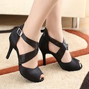 Women's Satin Heels Latin With Lace-up Dance Shoes