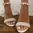 Kvinner Lær Stor Hæl Sandaler med Perle Kjede