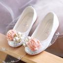 Jentas Round Toe Lukket Tå Blonder flat Heel Flate sko Flower Girl Shoes med Profilering Blomst