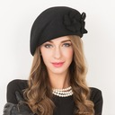 Ladies' Beautiful Wool With Flower Beret Hats