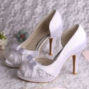 Women's Lace Satin Stiletto Heel Peep Toe Sandals