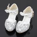 Jentas Round Toe Sparkling Glitter Flower Girl Shoes med Profilering Bowknot Crystal