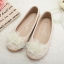 Jentas Lukket Tå Leather flat Heel Flate sko Flower Girl Shoes med Imitert Perle Blomst