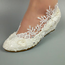 Women's Leatherette Wedge Heel Closed Toe Wedges With Stitching Lace