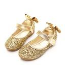 Jentas Round Toe Lukket Tå Sparkling Glitter flat Heel Flower Girl Shoes med Bowknot Glitrende Glitter Velcro