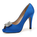 Women's Stiletto Heel Peep Toe Pumps Sandals With Rhinestone