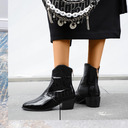 Women's Leatherette Low Heel Ankle Boots Pointed Toe With Animal Print Solid Color shoes
