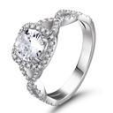 Halo Sammenflettet Round Cut 925 sølv Forlovelsesringer