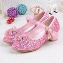 Jentas Round Toe Lukket Tå Sparkling Glitter lav Heel Flower Girl Shoes med Bowknot