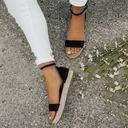 Kvinner Fløyel Flat Hæl med Spenne sko