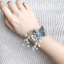 Delicate Hand-tied Lace/Rhinestone/Imitation Pearl Wrist Corsage -