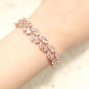 Ladies' Leaves Shaped Copper/Zircon Bracelets