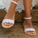 Kvinner Lær Flat Hæl Flate sko Titte Tå Sandaler med Syning Blonde