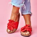 Kvinner Semsket Flat Hæl Sandaler Titte Tå Tøfler med Bowknot sko