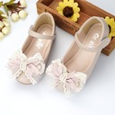 Girl's Round Toe Microfiber Leather Flat Heel Flower Girl Shoes With Beading Bowknot Velcro