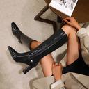 Kvinner Lær Stor Hæl Mid Leggen Støvler Firkantet tå med Ensfarget sko