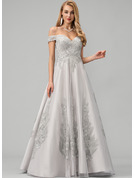 Ball-Gown/Princess Off-the-Shoulder Floor-Length Tulle Prom Dresses With Lace Sequins