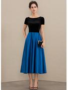 A-Line Scoop Neck Tea-Length Satin Velvet Mother of the Bride Dress With Pockets