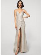 Sheath/Column V-neck Floor-Length Sequined Evening Dress With Split Front