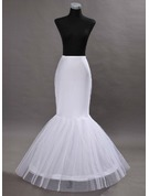 Women Tulle Netting/Satin Floor-length 2 Tiers Bustle