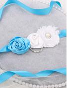 Blomsterjente Polyester Bånd med Blomst/Rhinestones/Imitert Perle
