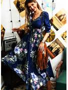 Blomstrete Trykk A-line kjole V-hals 1/2-ermer Maxi Elegant skater Motekjoler