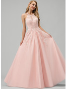 Ball-Gown/Princess Scoop Neck Floor-Length Tulle Prom Dresses With Lace Beading Sequins