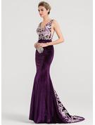 Trumpet/Mermaid V-neck Sweep Train Velvet Evening Dress