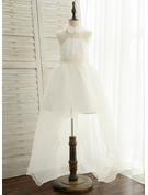 Ball-Gown/Princess Asymmetrical Flower Girl Dress - Organza/Satin/Tulle Sleeveless Halter With Sash/Beading/Flower(s) (Undetachable sash)