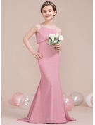 Trumpet/Mermaid Square Neckline Sweep Train Chiffon Junior Bridesmaid Dress With Cascading Ruffles