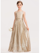 A-Line Floor-length Flower Girl Dress - Sequined Sleeveless Scoop Neck With Back Hole