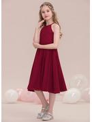 A-Line Scoop Neck Knee-Length Chiffon Junior Bridesmaid Dress