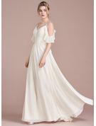 A-Line V-neck Floor-Length Chiffon Prom Dresses With Cascading Ruffles