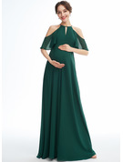 A-line Halter Floor-length Chiffon Maternity Bridesmaid Dress With Ruffle