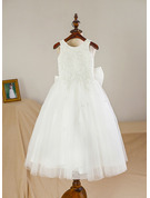 A-Line Tea-length Flower Girl Dress - Satin/Tulle Sleeveless Scoop Neck With Bow(s)
