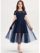 A-Line Scoop Neck Tea-Length Tulle Lace Junior Bridesmaid Dress