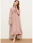 A-Line Scoop Neck Tea-Length Chiffon Junior Bridesmaid Dress With Bow(s) Cascading Ruffles