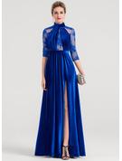A-Line/Princess High Neck Floor-Length Velvet Evening Dress With Beading Sequins Split Front
